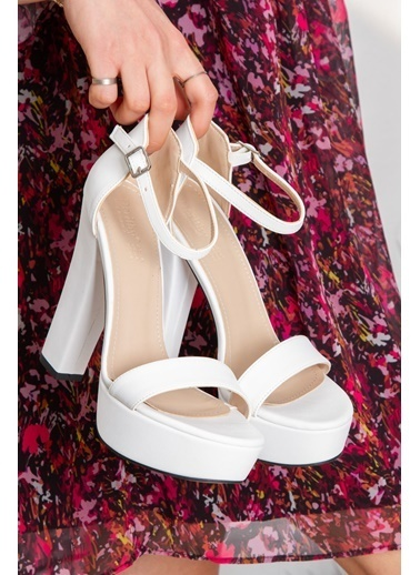 Derithy Lakove Topuklu Ayakkabı-Platın-Byc7308 Beyaz